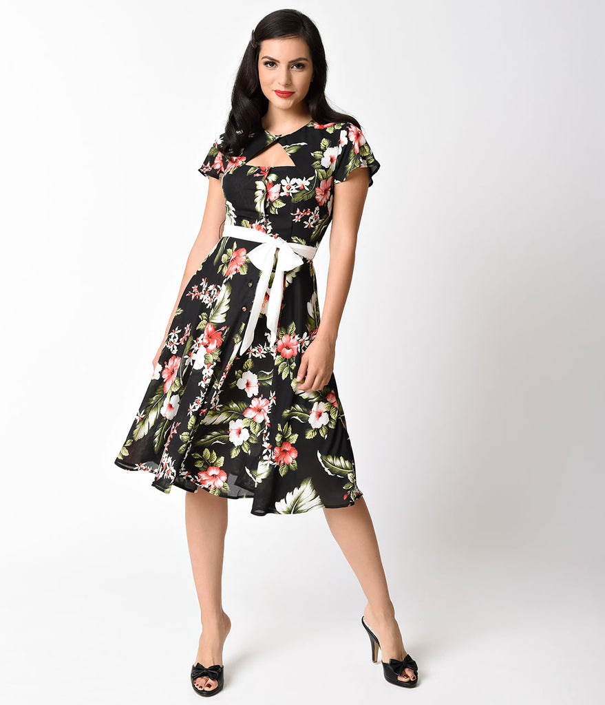 Unique Vintage 1940s Black Hawaiian Florals Ashcroft Short Sleeve Swing Dress