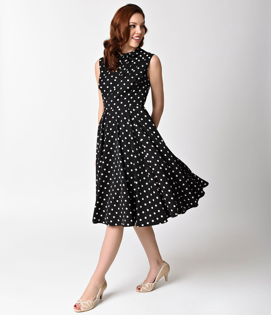 1940s Evening, Prom, Party, Cocktail Dresses & Ball Gowns Unique Vintage 1940s Black  Ivory Dotted Sleeveless Olson Swing Dress $88.00 AT vintagedancer.com