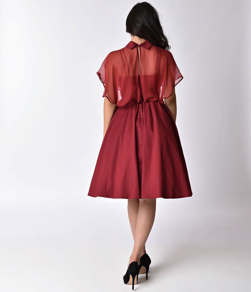Unique Vintage 1940s Style Burgundy Red Brushed Cotton Luna Swing Dress & Mesh Capelet