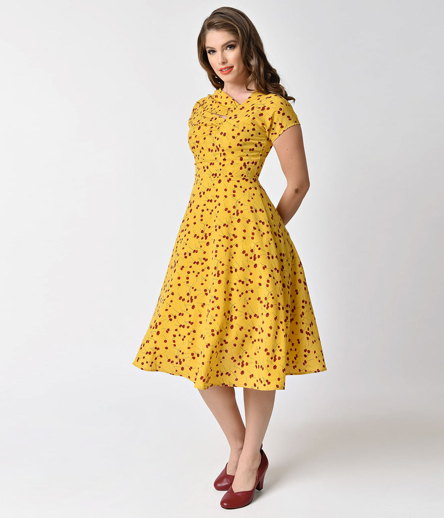 Unique Vintage Mustard Yellow & Red Floral Print Amelia Swing Dress