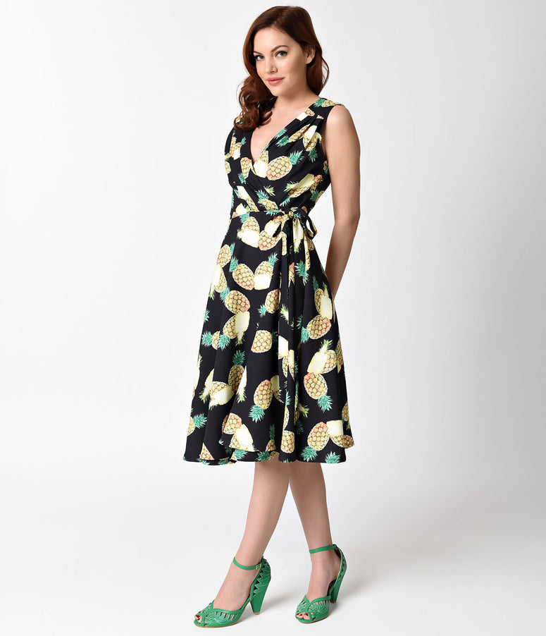 Unique Vintage 1940s Style Pineapple Print Kelsie Wrap Dress