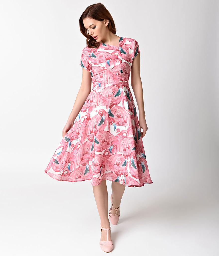 Unique Vintage Pink Flamingo Amelia Swing Dress