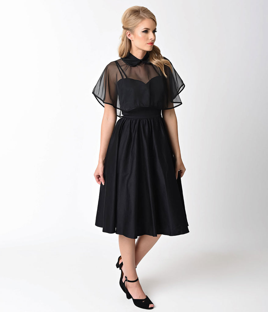 Unique Vintage 1940s Style Black Brushed Cotton Luna Swing Dress & Mesh Capelet
