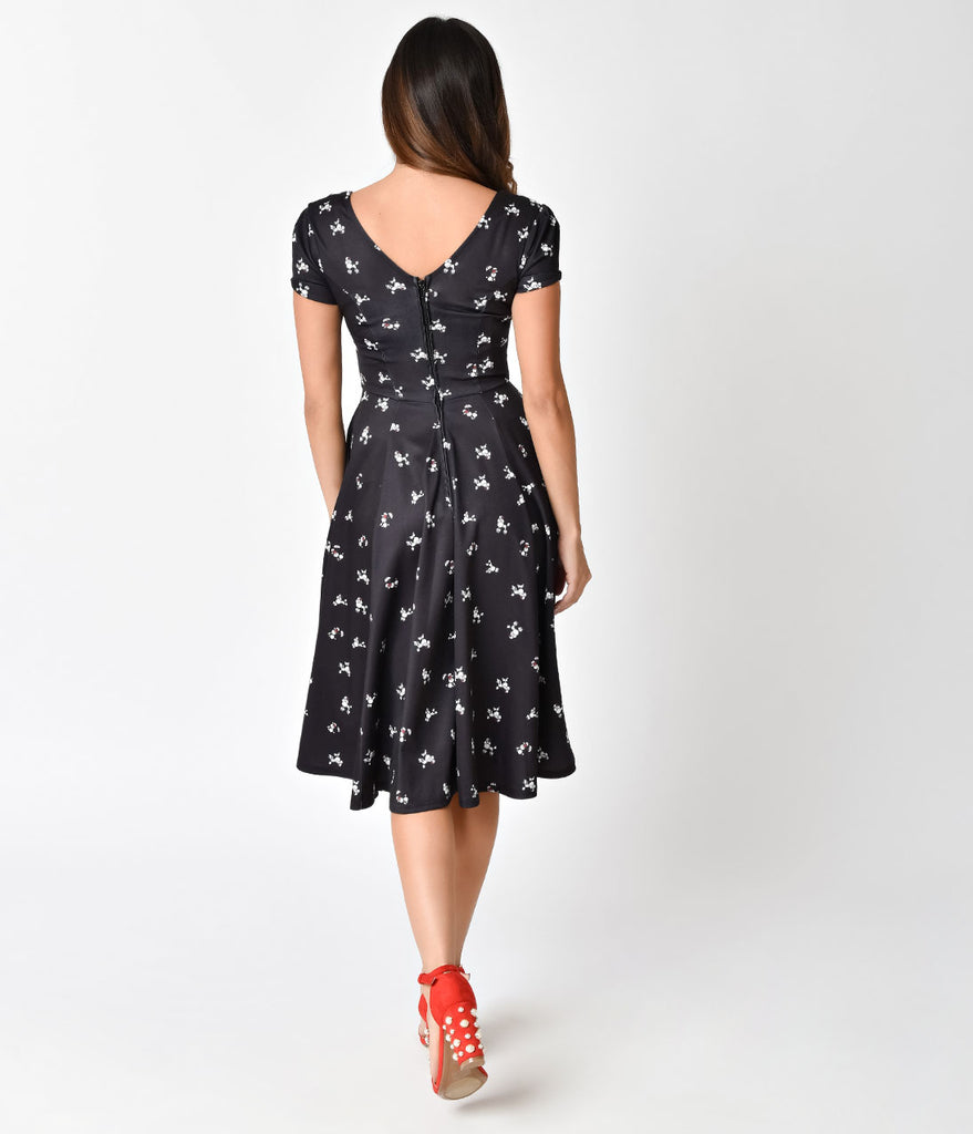 Unique Vintage 1940s Style Black Poodle Parade Knit Short Sleeve Natalie Swing Dress