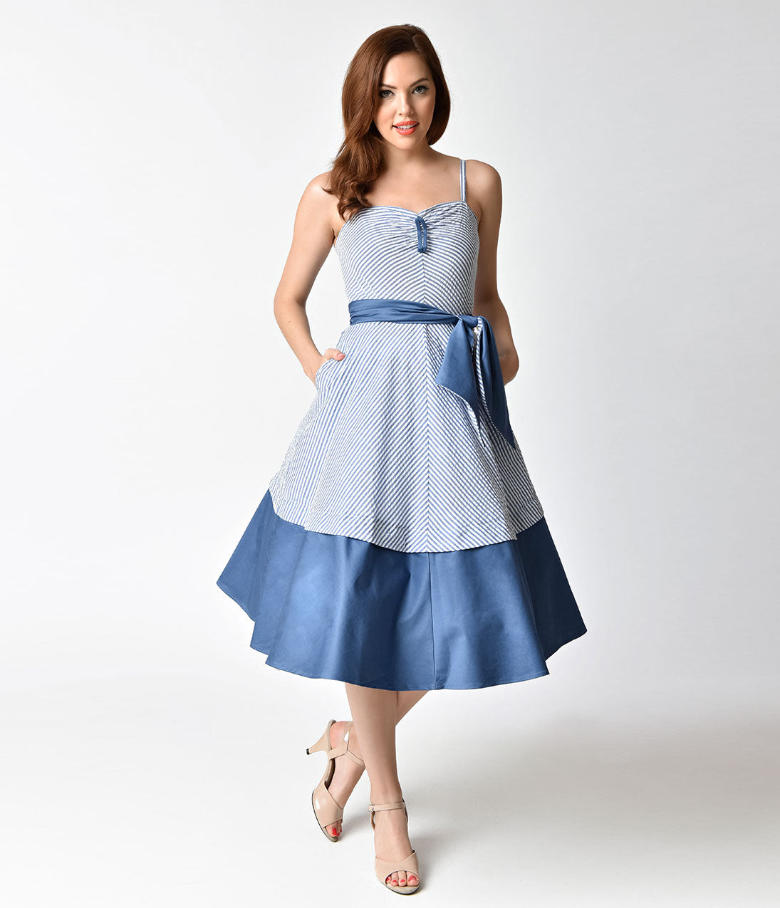 Sailor Dresses, Nautical Dress, Pin Up & WW2 Dresses 1940s Style Blue  White Striped Seersucker Lonestar Swing Dress $36.00 AT vintagedancer.com