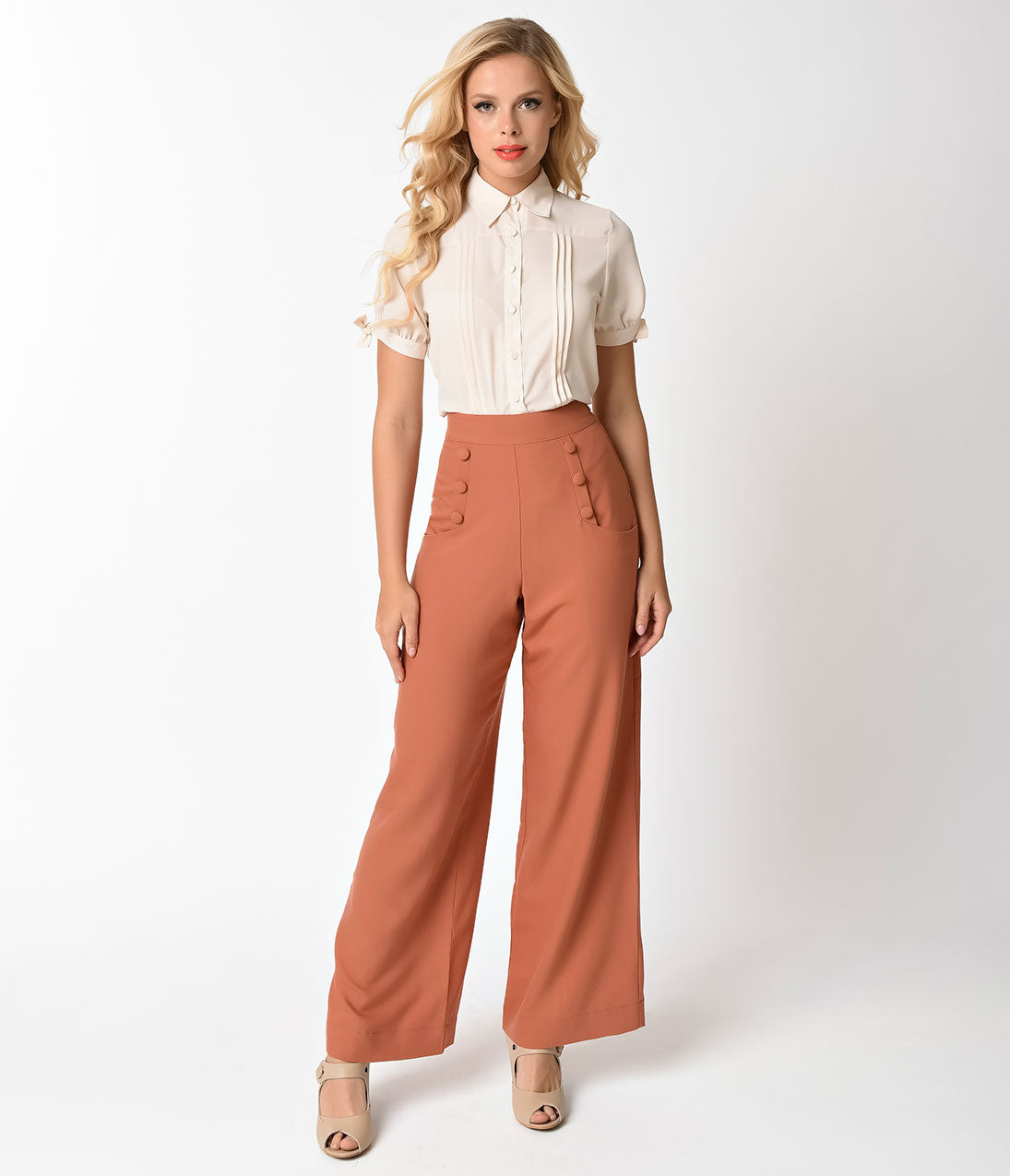 Vintage High Waisted Trousers, Sailor Pants, Jeans Unique Vintage 1940s Style Cinnamon Brown High Waist Sailor Ginger Pants $62.00 AT vintagedancer.com
