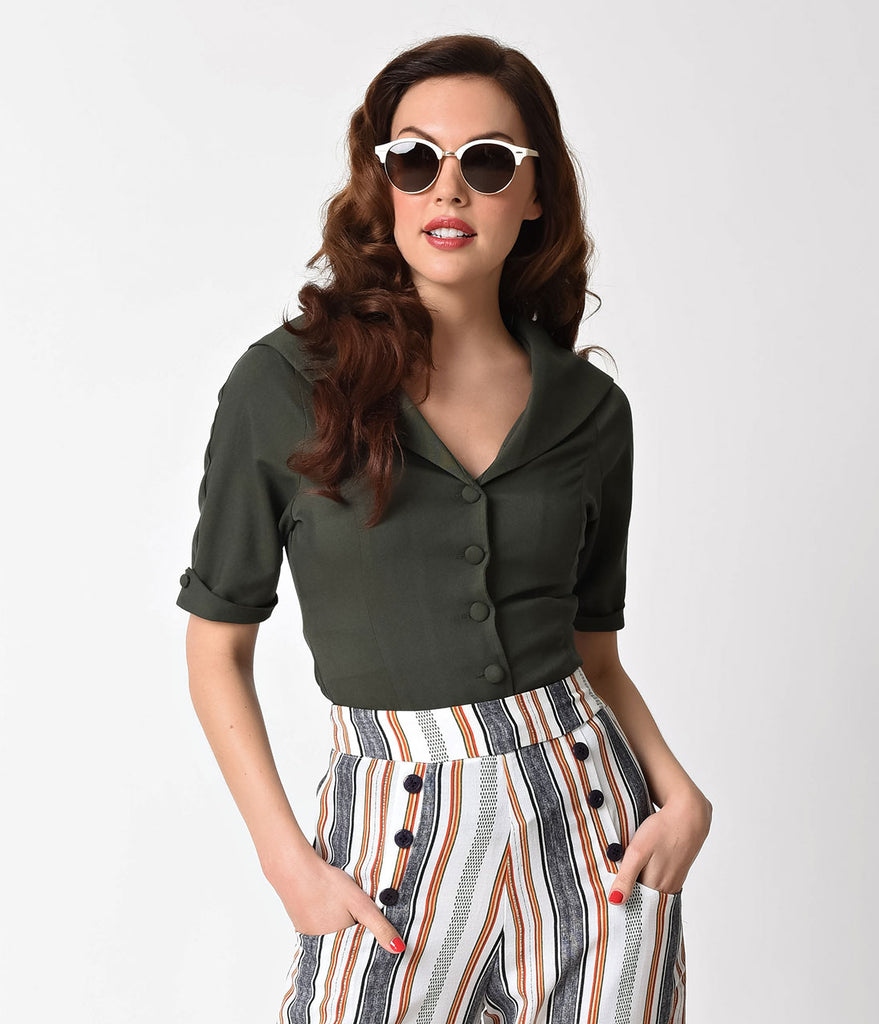 Unique Vintage 1940s Style Hunter Green Button Up Coco Blouse