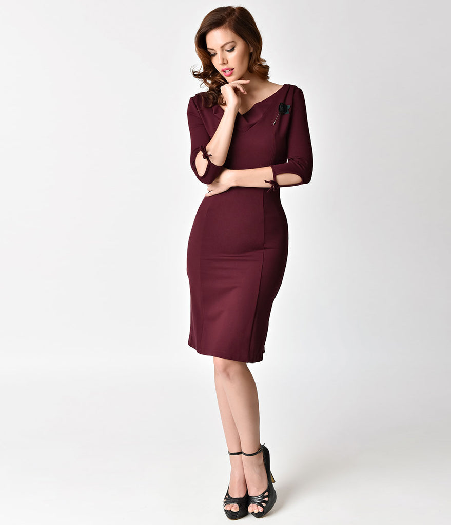 Unique Vintage 1940s Style Merlot Carmen Half Sleeve Wiggle Dress