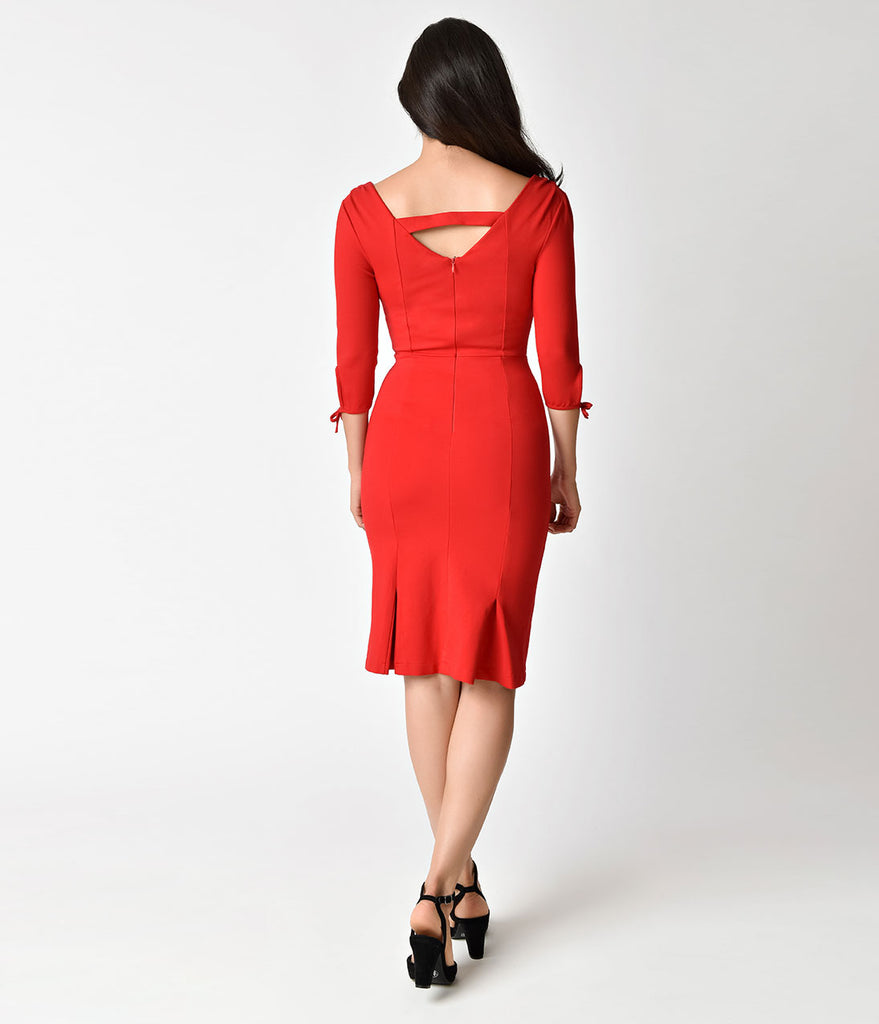 Unique Vintage 1940s Style Red Carmen Half Sleeve Wiggle Dress
