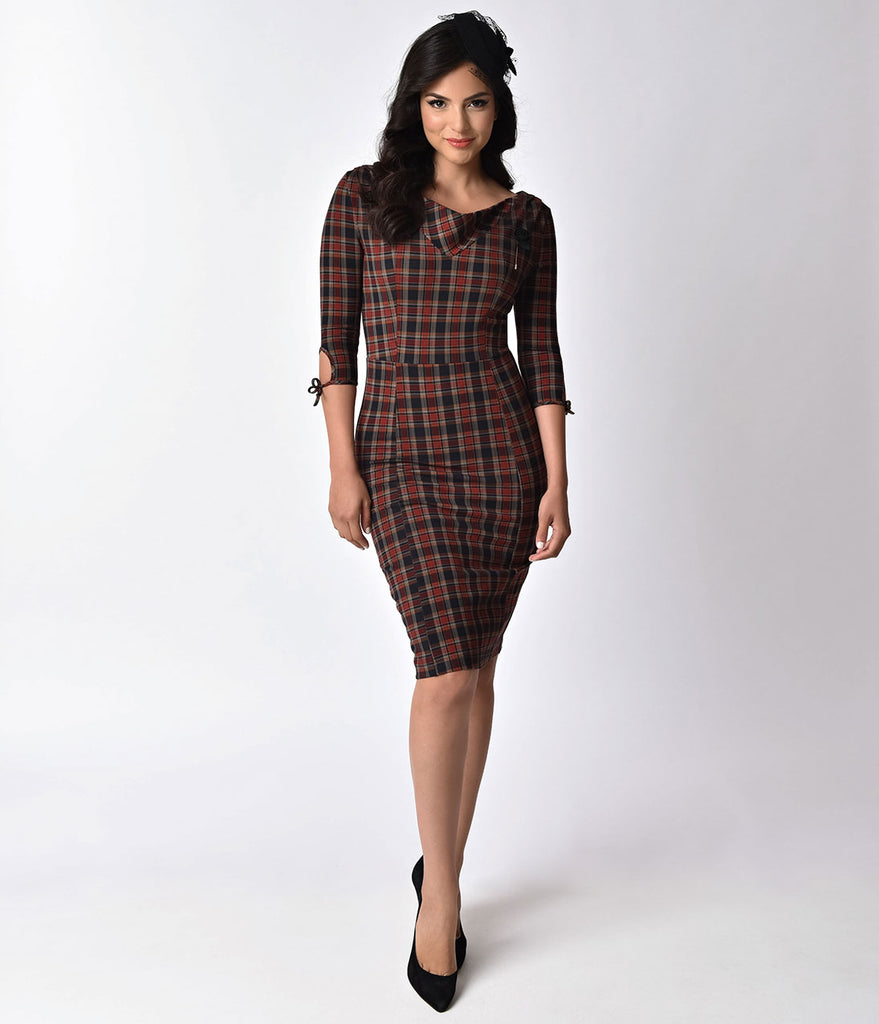 Unique Vintage 1940s Style Dark Plaid Carmen Half Sleeve Wiggle Dress