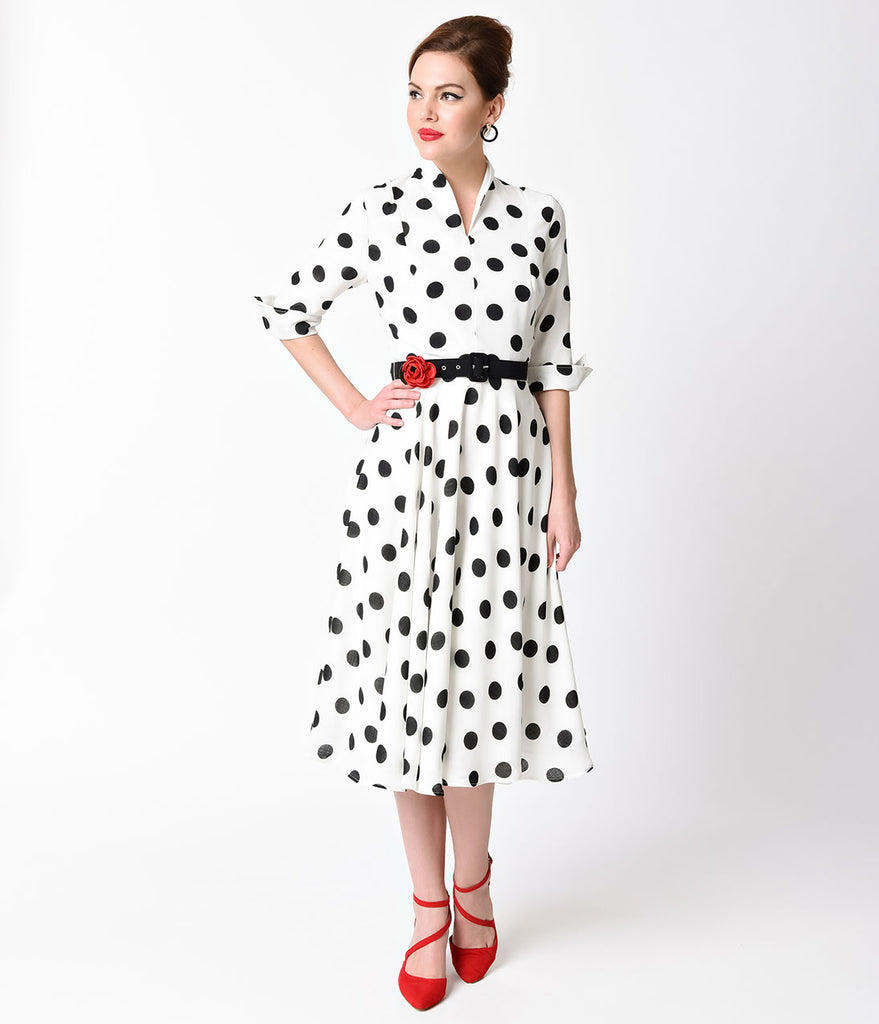 Unique Vintage 1940s White & Black Dotted Sleeved Hudson Shirt Dress