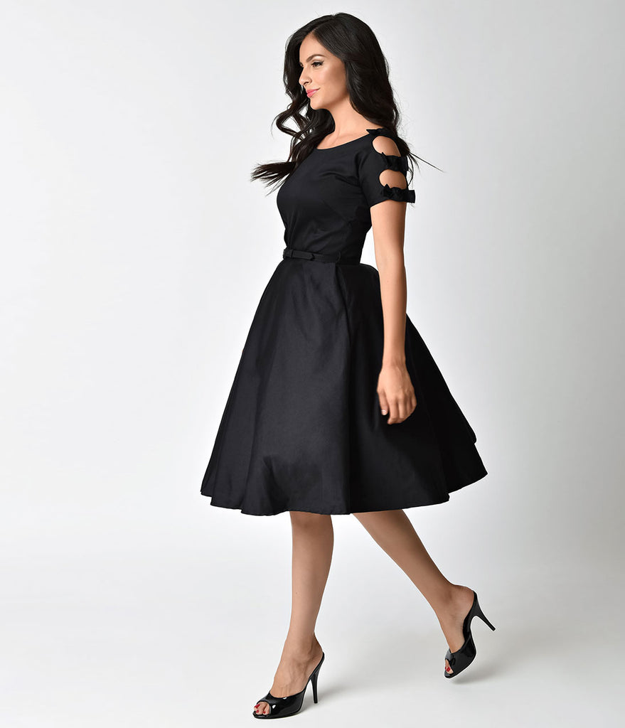 Unique Vintage 1950s Black Cotton Bow Sleeve Selma Swing Dress