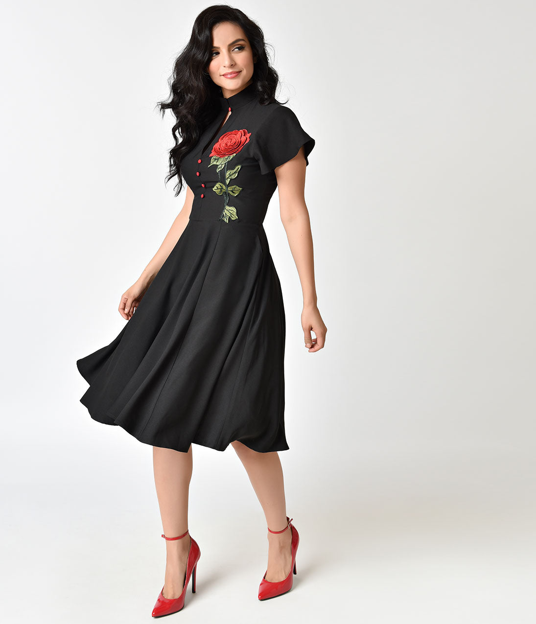 Fifties Dresses : 1950s Style Swing to Wiggle Dresses Unique Vintage 1950S Black  Embroidered Red Rose Baltimore Swing Dress $98.00 AT vintagedancer.com