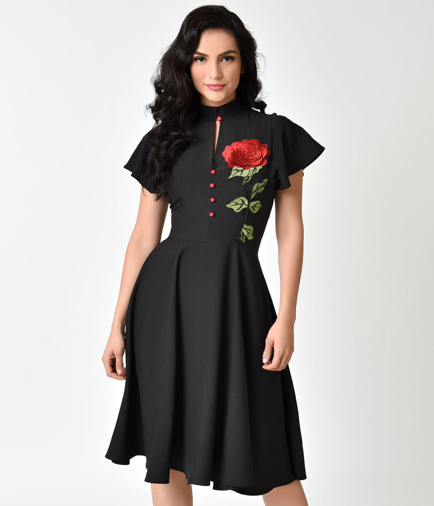 Dressing Gowns For Women: Unique Vintage 1950s Black & Embroidered Red Rose