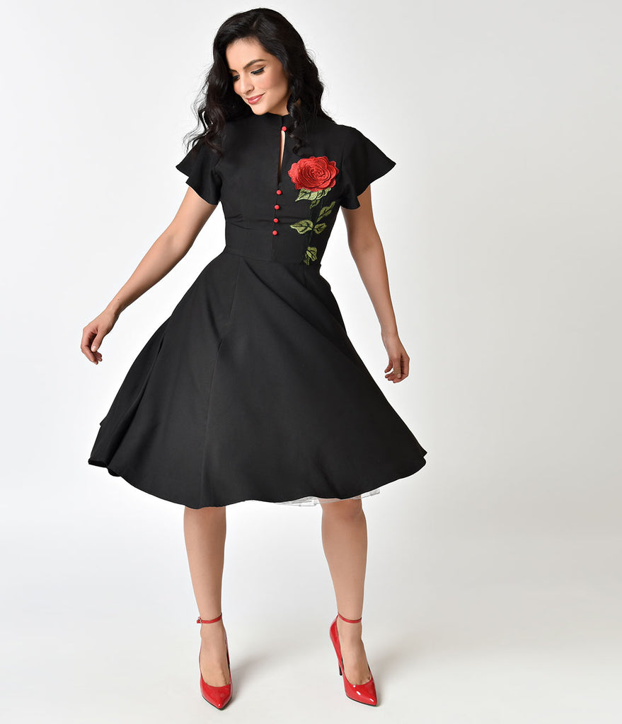 ccfb14505502 ... Unique Vintage 1950s Black & Embroidered Red Rose Baltimore Swing Dress  ...
