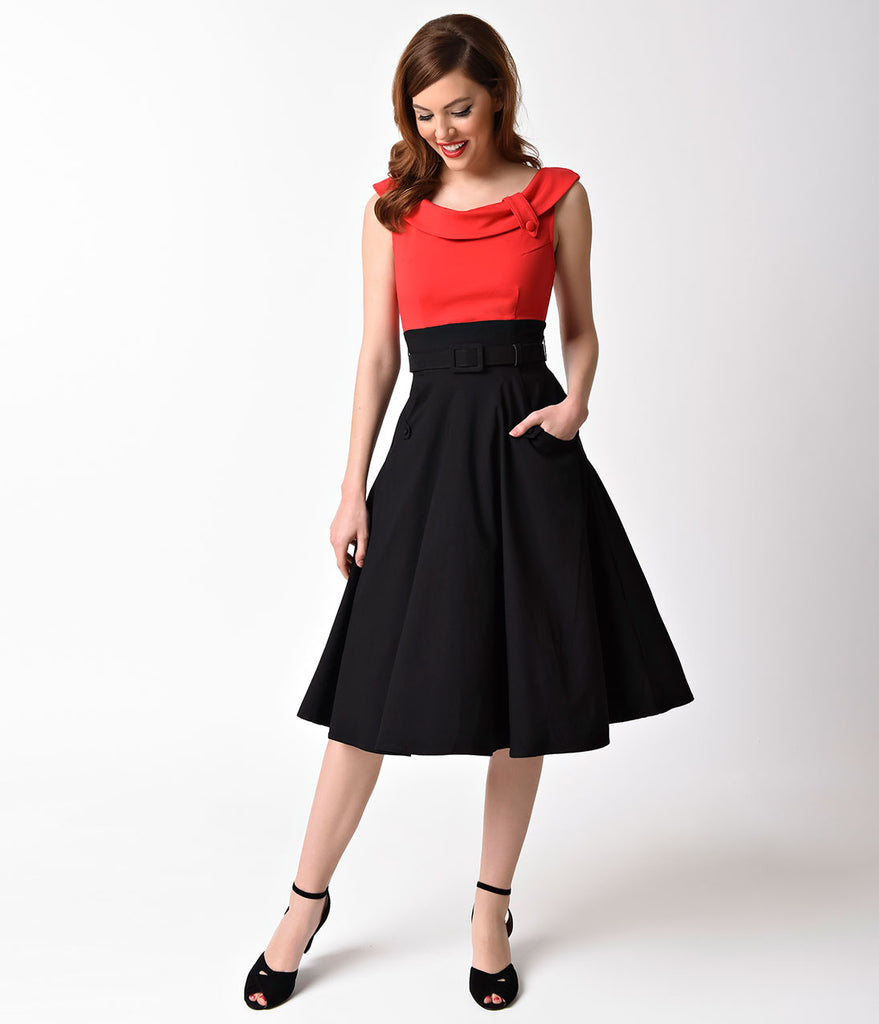 unique vintage 1950s black red colorblock tippi swing dress