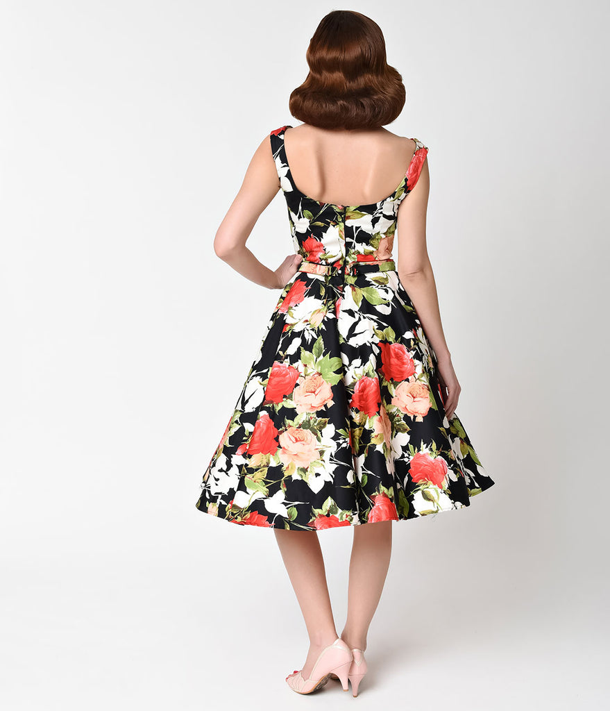 Unique Vintage 1950s Style Black & Rose Bouquet Blanc Noir Swing Dress