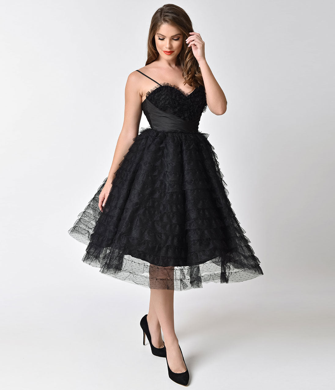 1950s Dresses, 50s Dresses | 1950s Style Dresses Unique Vintage 1950S Black Ruffled Tulle Sweetheart Cupcake Swing Dress $128.00 AT vintagedancer.com