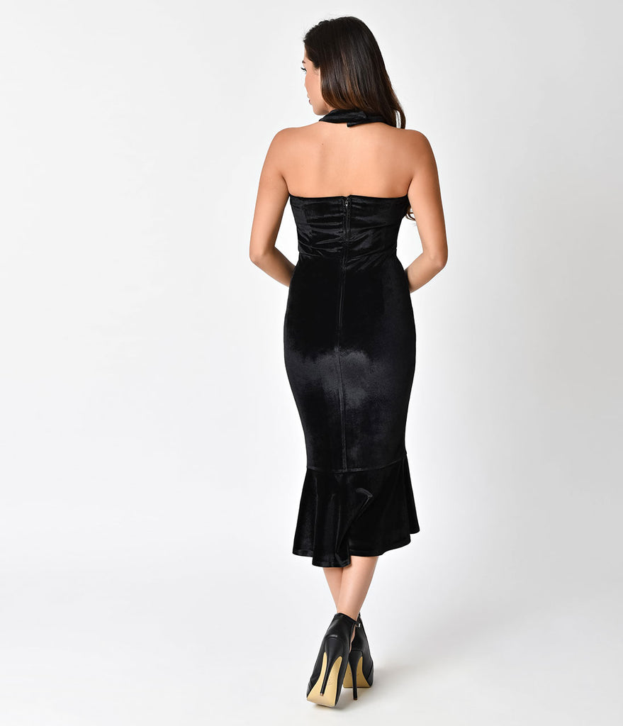 Unique Vintage 1950s Black Velvet Cross Halter Nicolette Wiggle Dress