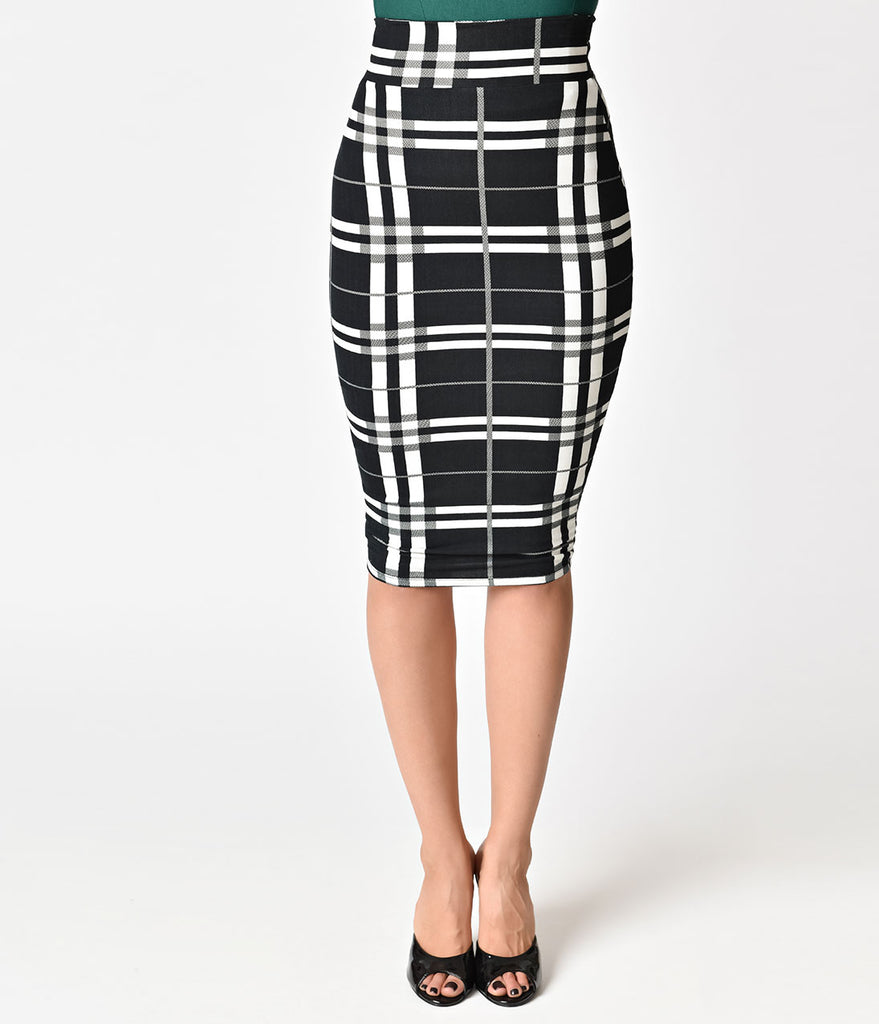 Unique Vintage 1950s Black & White Plaid High Waist Katharine Wiggle Skirt