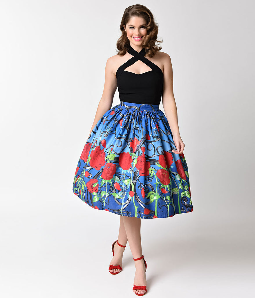 Unique Vintage 1950s Blue & Red Rose It's A Beauty High Waist Swing Skirt