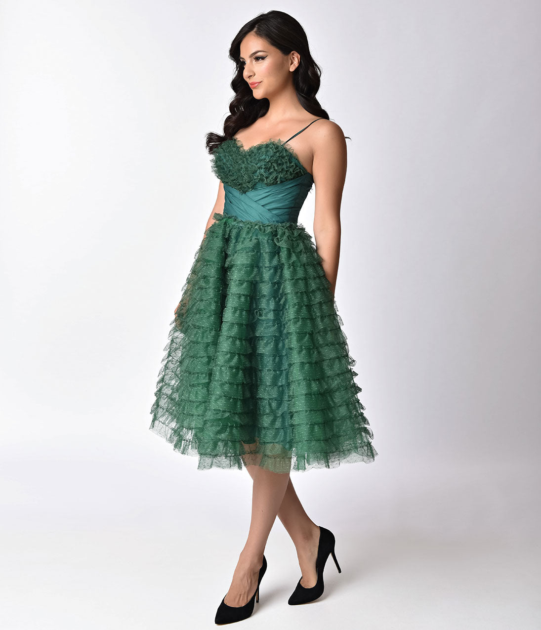 Vintage Evening Dresses Unique Vintage 1950S Emerald Green Ruffled Tulle Sweetheart Cupcake Swing Dress $128.00 AT vintagedancer.com