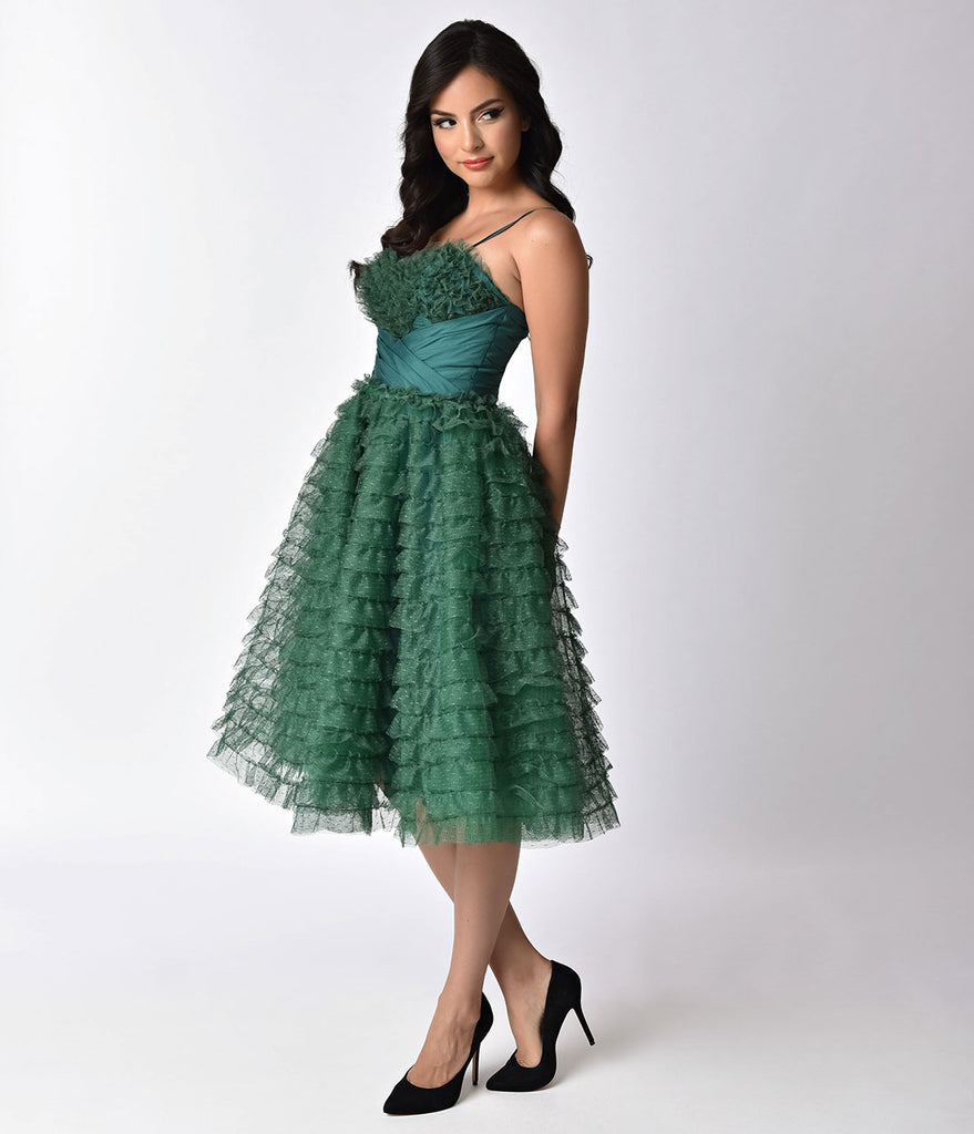 Unique Vintage 1950s Emerald Green Ruffled Tulle Sweetheart Cupcake Swing Dress