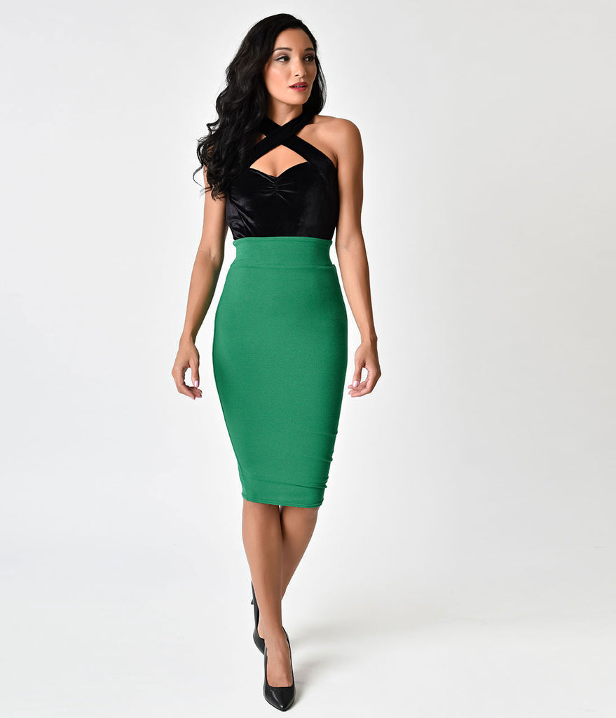 Unique Vintage 1950s Green High Waist Katharine Knit Wiggle Skirt
