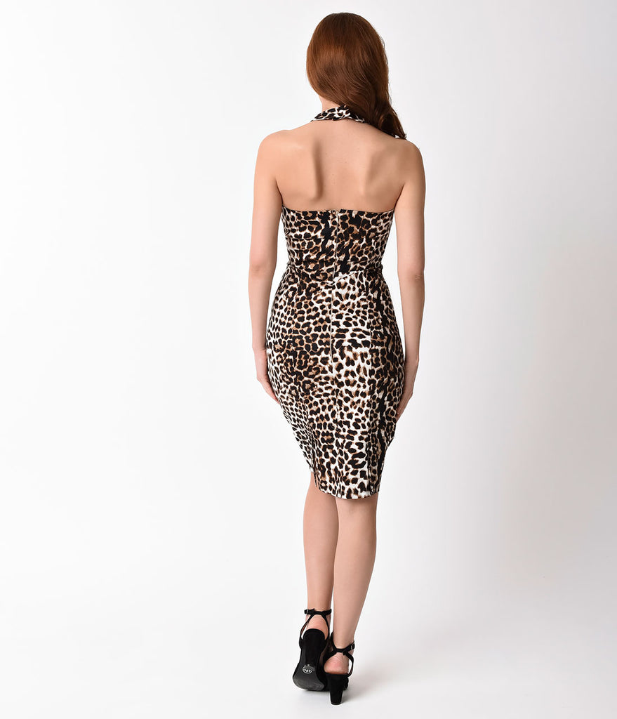 Unique Vintage 1960s Leopard Criss Cross Halter Penelope Wiggle Dress
