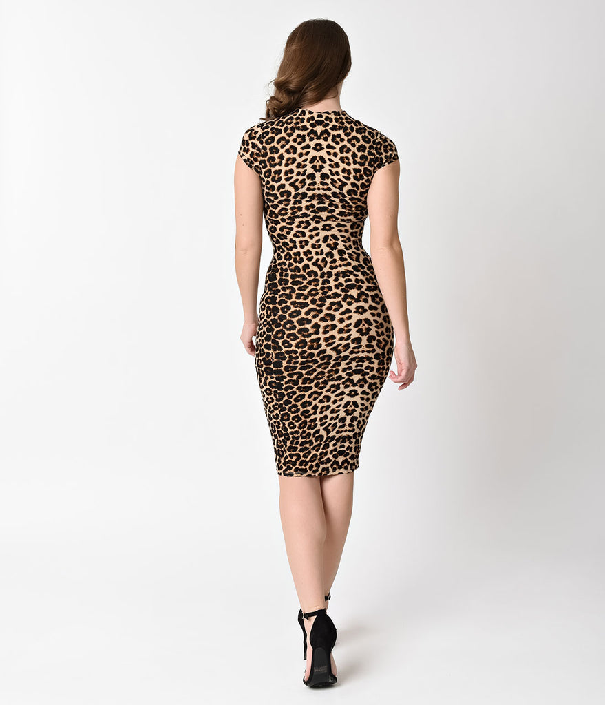 Unique Vintage 1960s Leopard Stretch Knit Cap Sleeve Holly Wiggle Dress