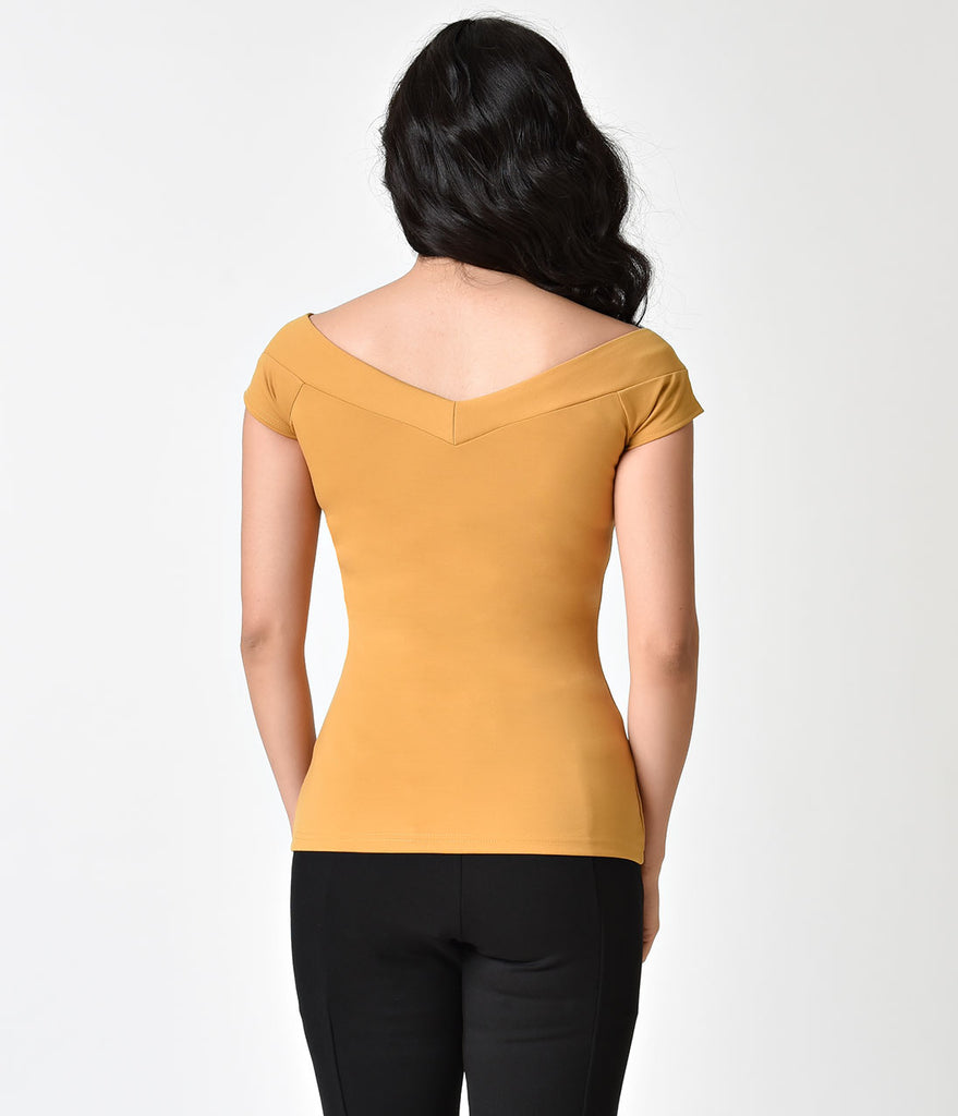 Unique Vintage 1950s Mustard Yellow Stretch Knit Cap Sleeve Deena Top