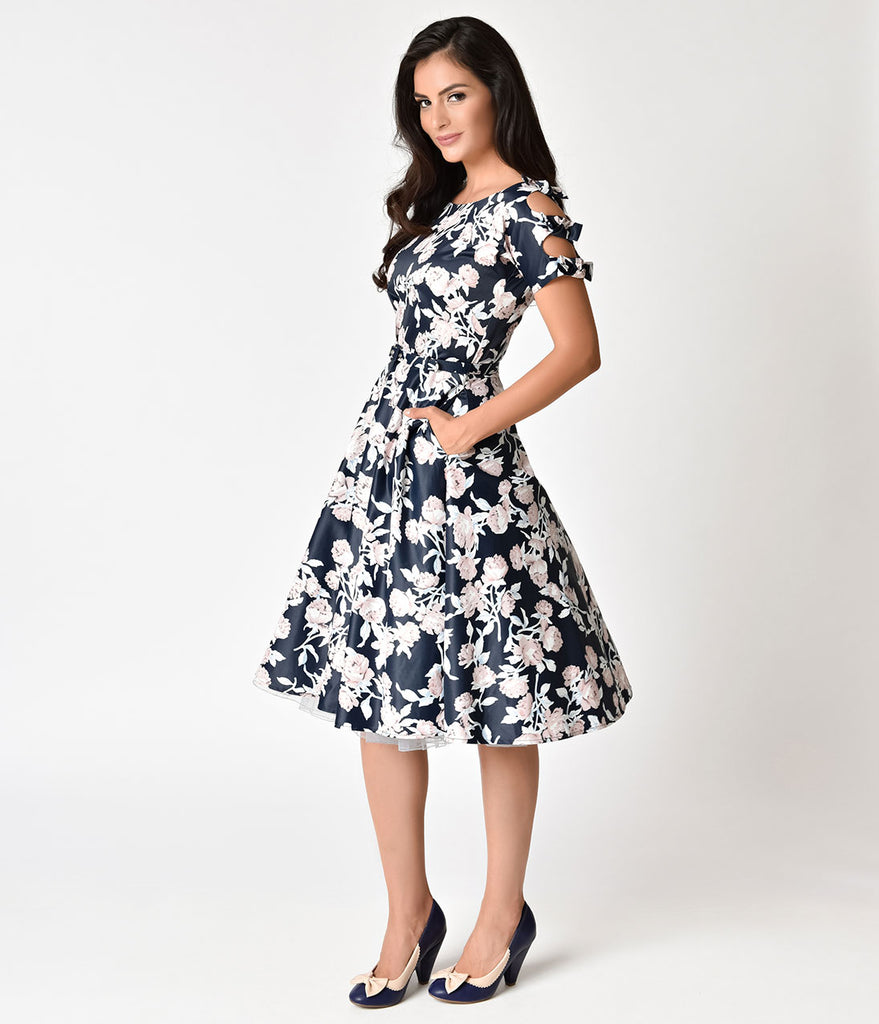 Unique Vintage 1950s Navy & Dusty Pink Floral Bow Sleeve Selma Swing Dress