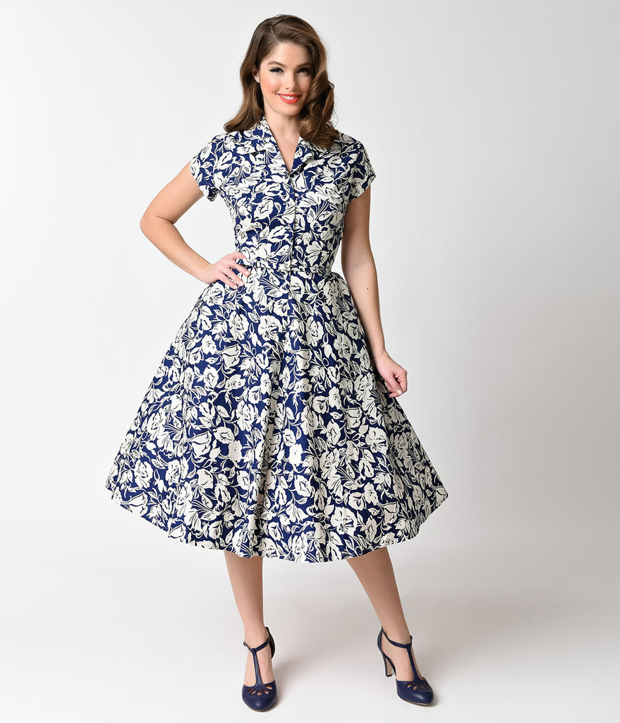 Unique Vintage 1950s Style Navy & Tan Floral Alexis Short Sleeve Swing Dress