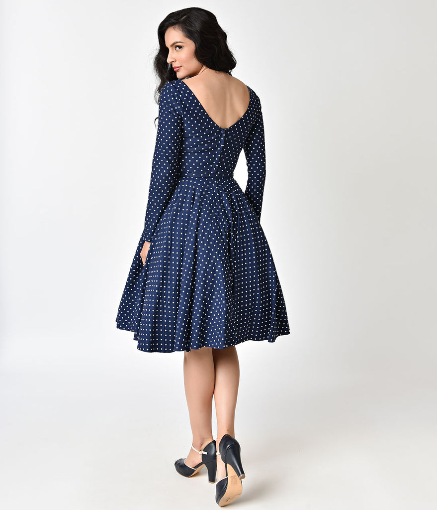 Unique Vintage 1950s Navy & White Dotted Long Sleeve Maude Swing Dress