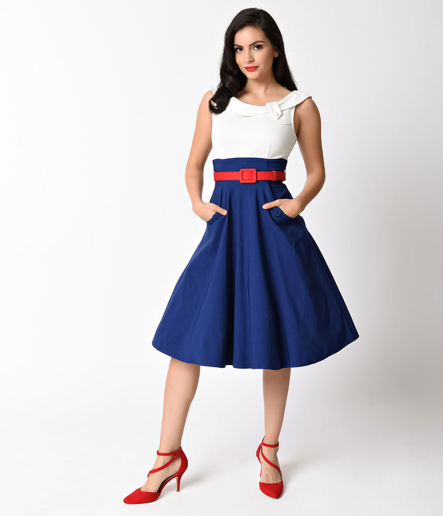 Unique Vintage 1950s Navy, White, & Red Colorblock Tippi Swing Dress