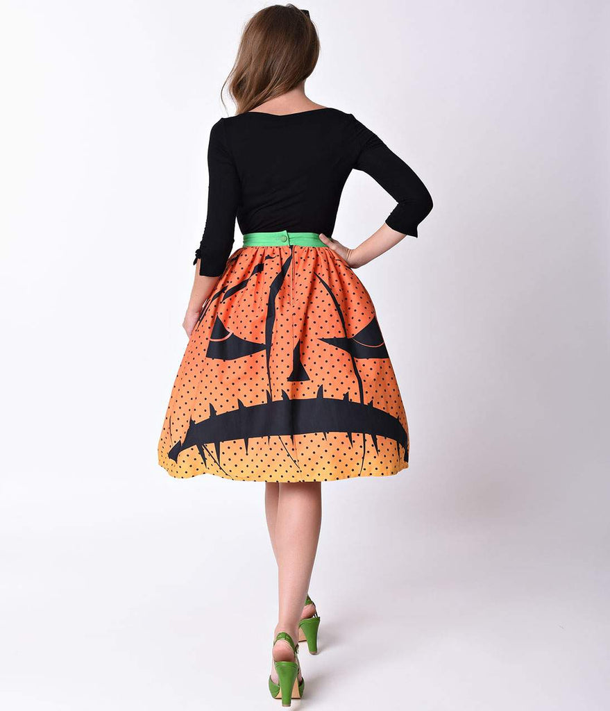 Unique Vintage 1950s Orange Pumpkin Dot High Waist Circle Swing Skirt