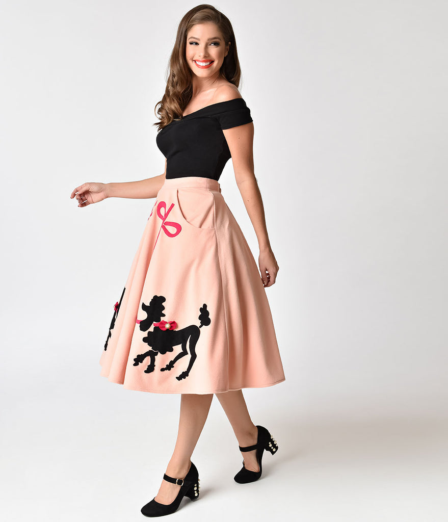 Unique Vintage 1950s Peach Pink Soda Shop Poodle Swing Skirt