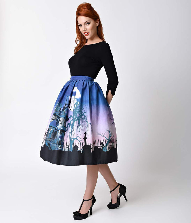 Unique Vintage 1950s Haunted Mansion High Waist Circle Swing Skirt