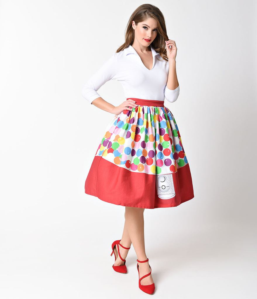 Unique Vintage 1950s Red & Multi Gumball Machine High Waist Circle Swing Skirt