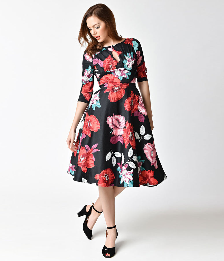Unique Vintage 1950s Style Black Floral Cotton Bouvier Swing Dress