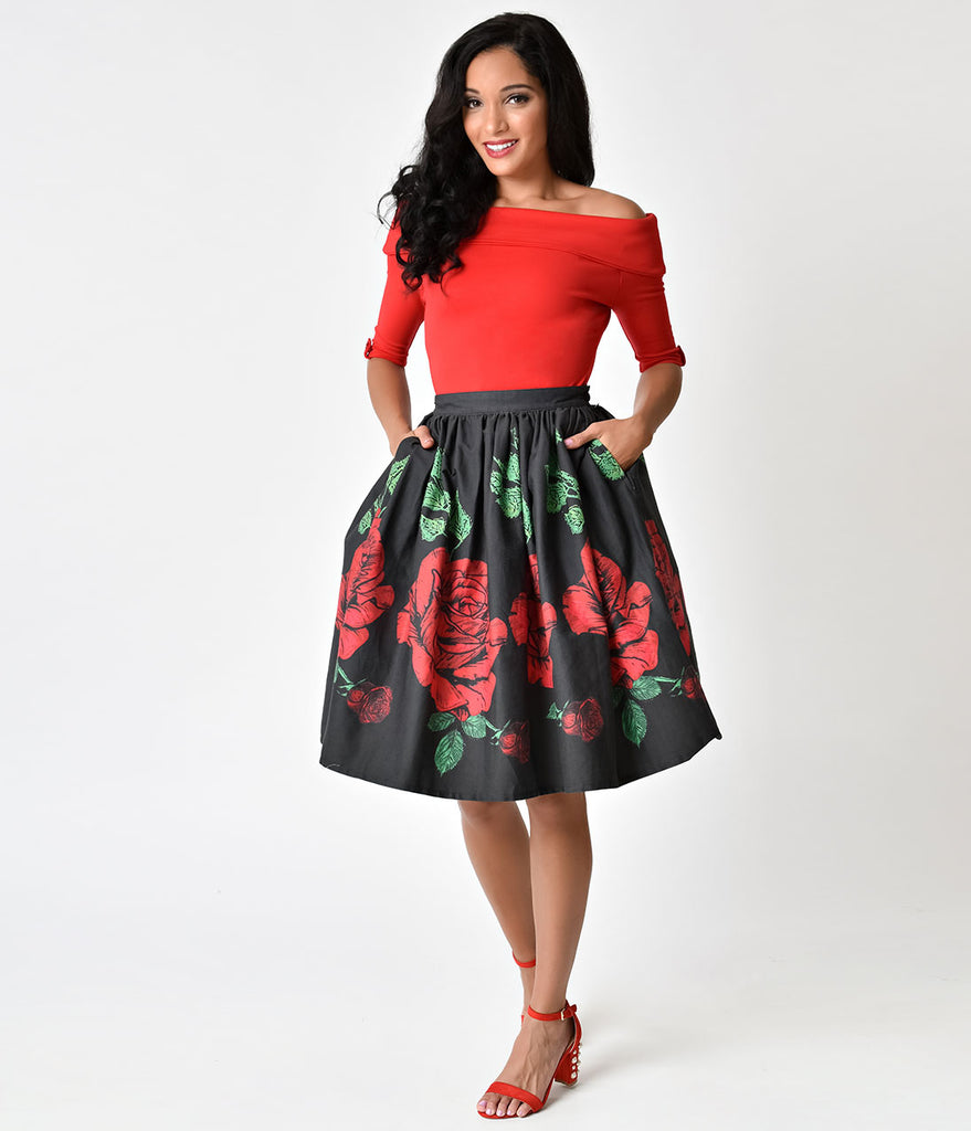 Unique Vintage 1950s Style Black & Red Rose Print High Waist Cotton Swing Skirt