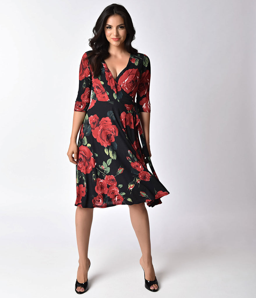 Unique Vintage 1940s Style Black & Red Roses Print Kelsie Wrap Dress