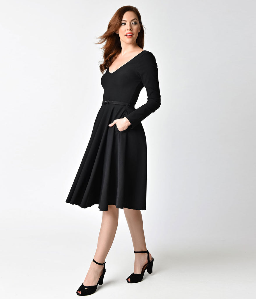 Unique Vintage 1950s Style Black Stretch Long Sleeve Maude Swing Dress