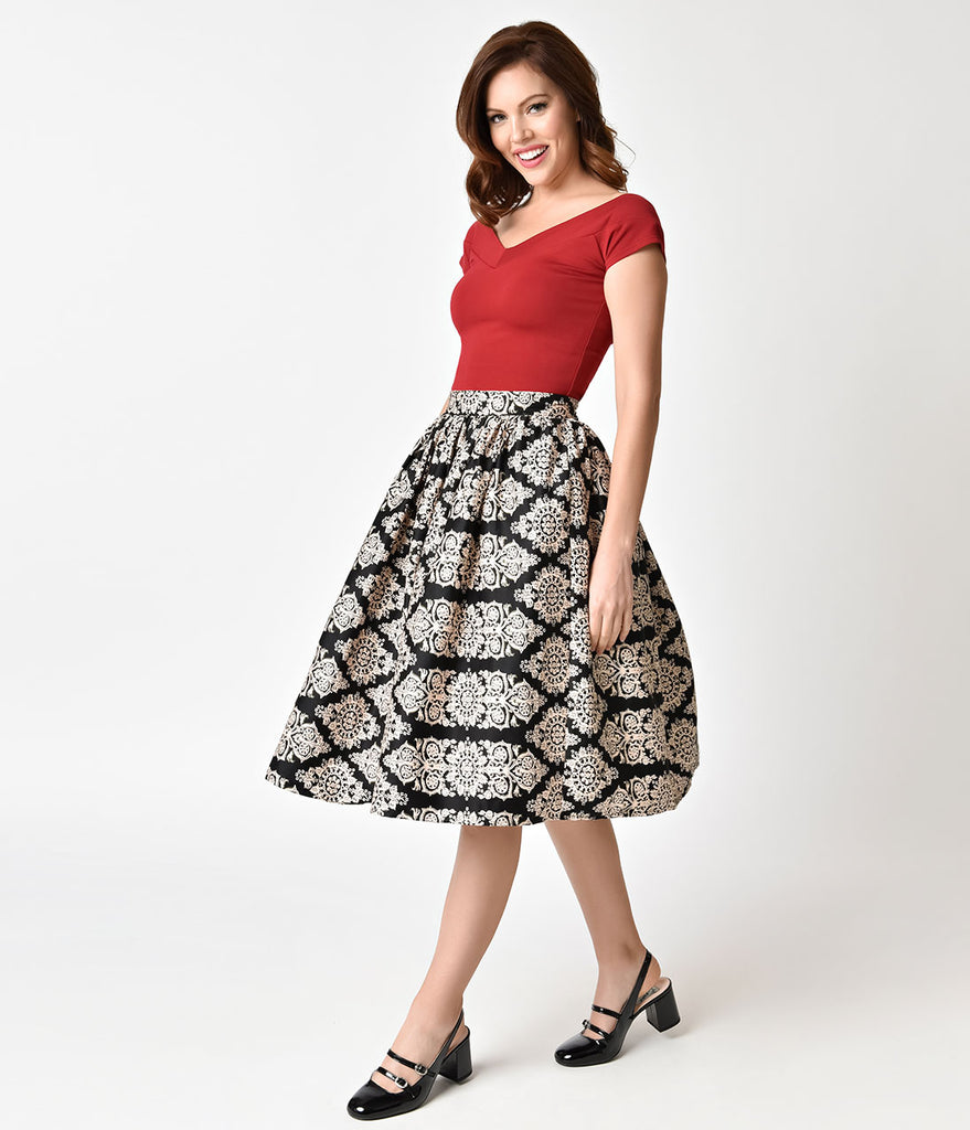 Unique Vintage 1950s Style Black & Tan Damask High Waist Swing Skirt