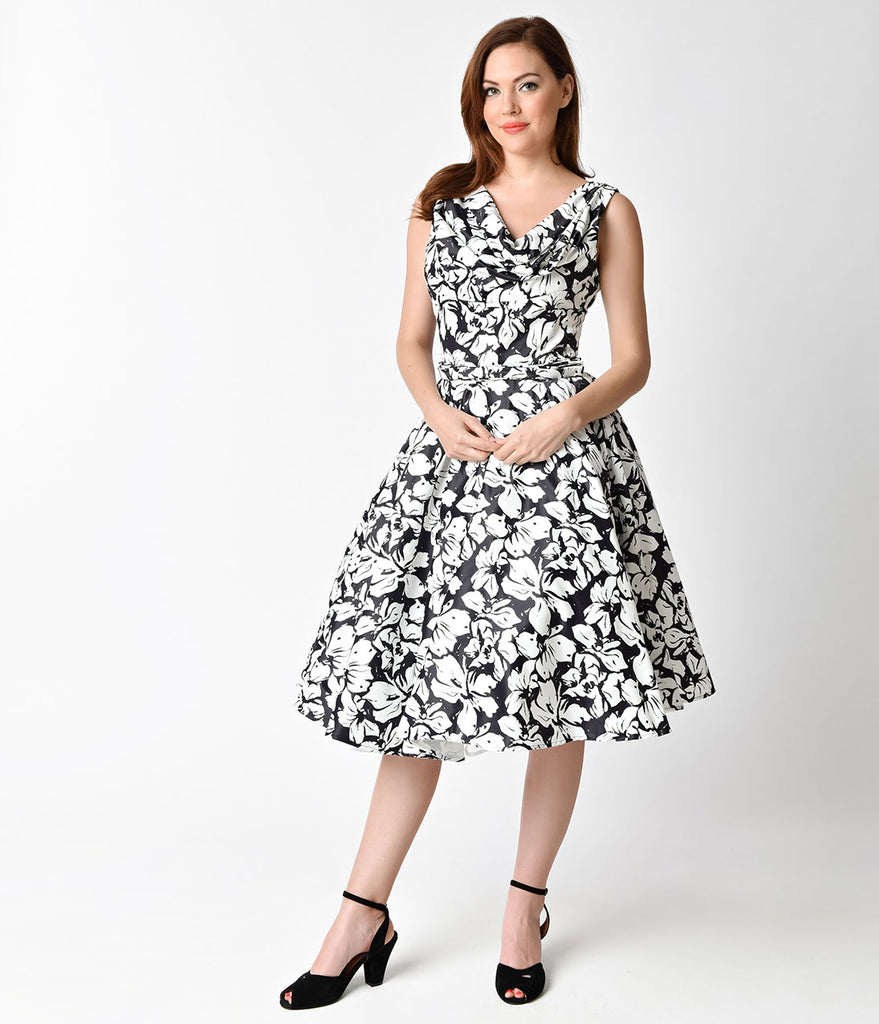Unique Vintage 1950s Style Black & White Floral Blanc Noir Swing Dress