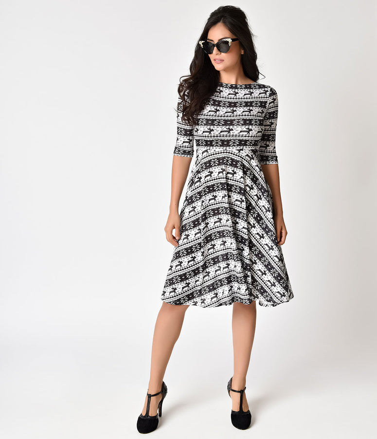 Unique Vintage 1950s Style Black & White Knit Sleeved Nicole Swing Dress