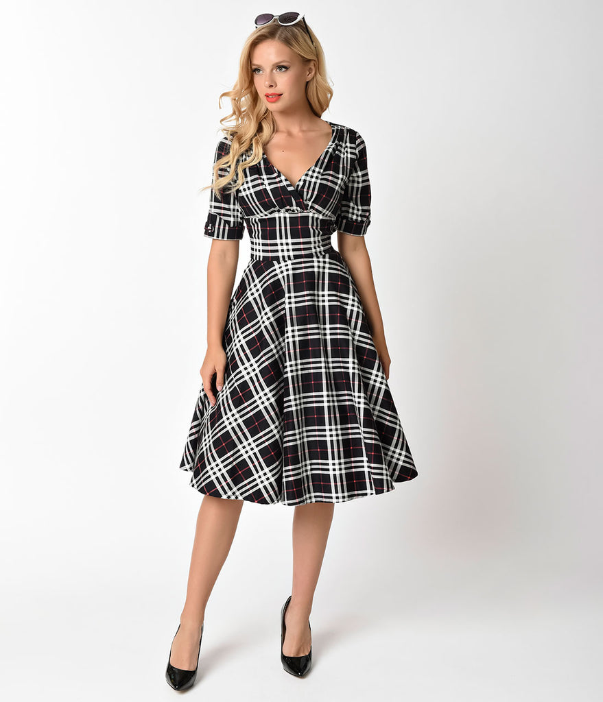 99da525e7f23b Unique Vintage 1950s Black & White Plaid Delores Swing Dress with Slee