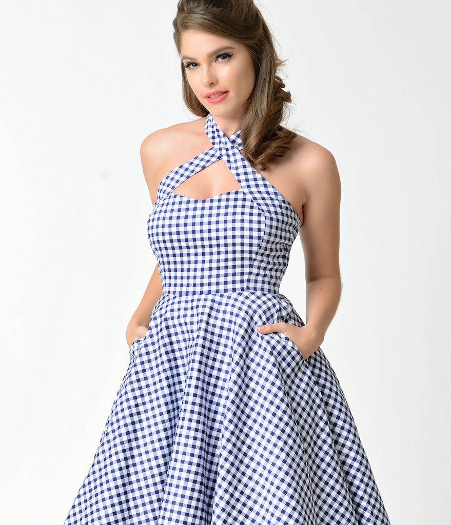 Unique Vintage 1950s Style Blue & White Gingham Rita Halter Flare Dress