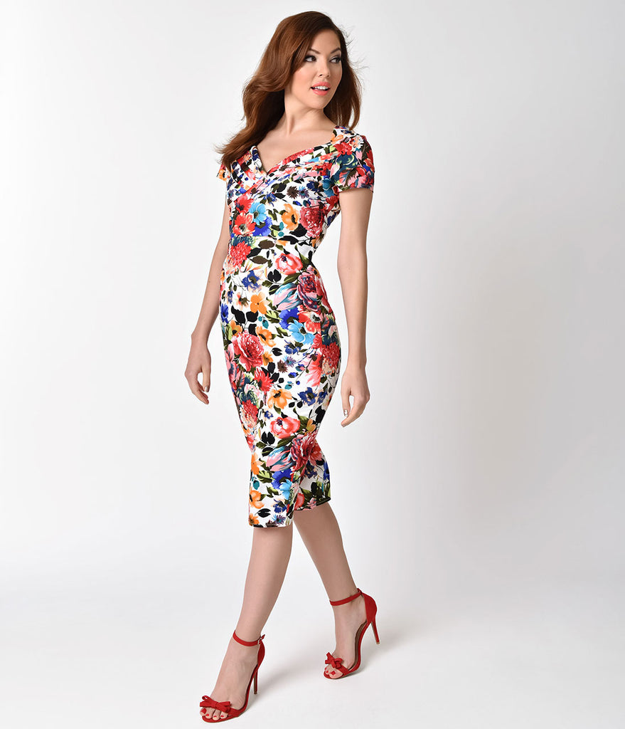 Unique Vintage 1950s Style Bright Blossoming Floral St. Pierre Wiggle Dress