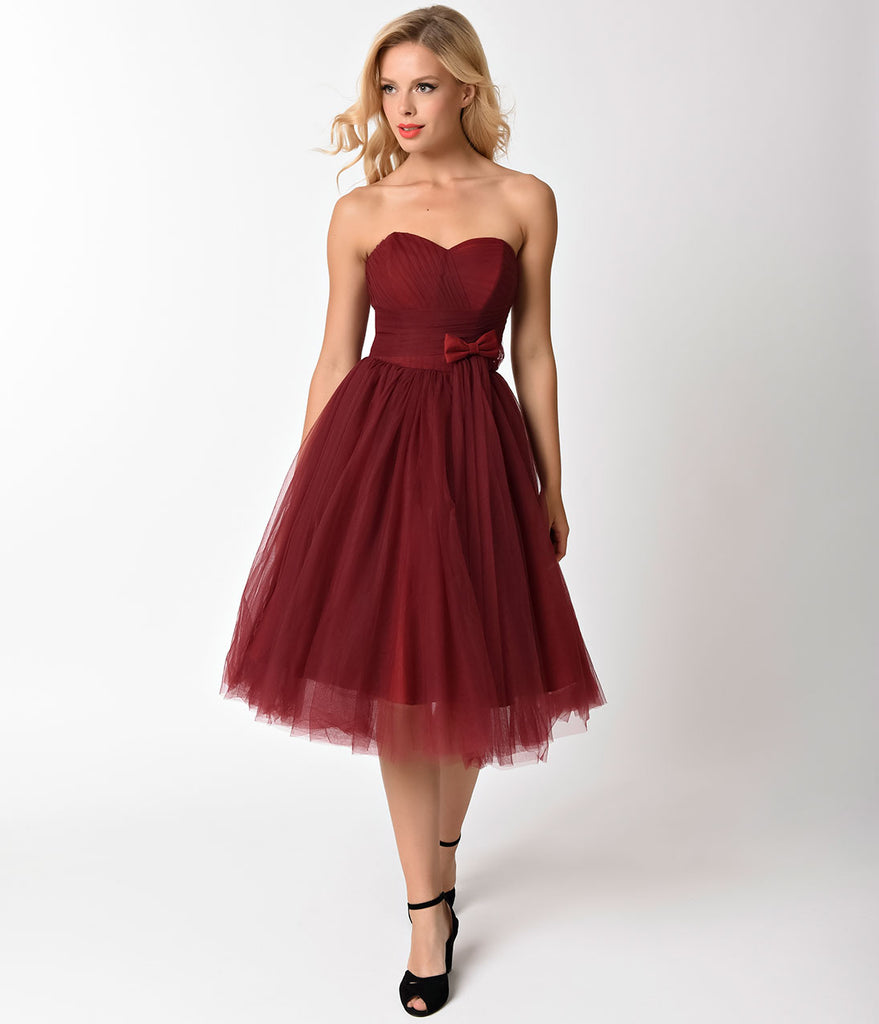 Unique Vintage 1950s Style Burgundy Pleated